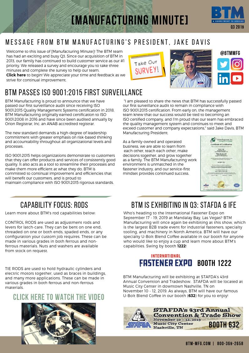BTM Publishes Quarterly Newsletter