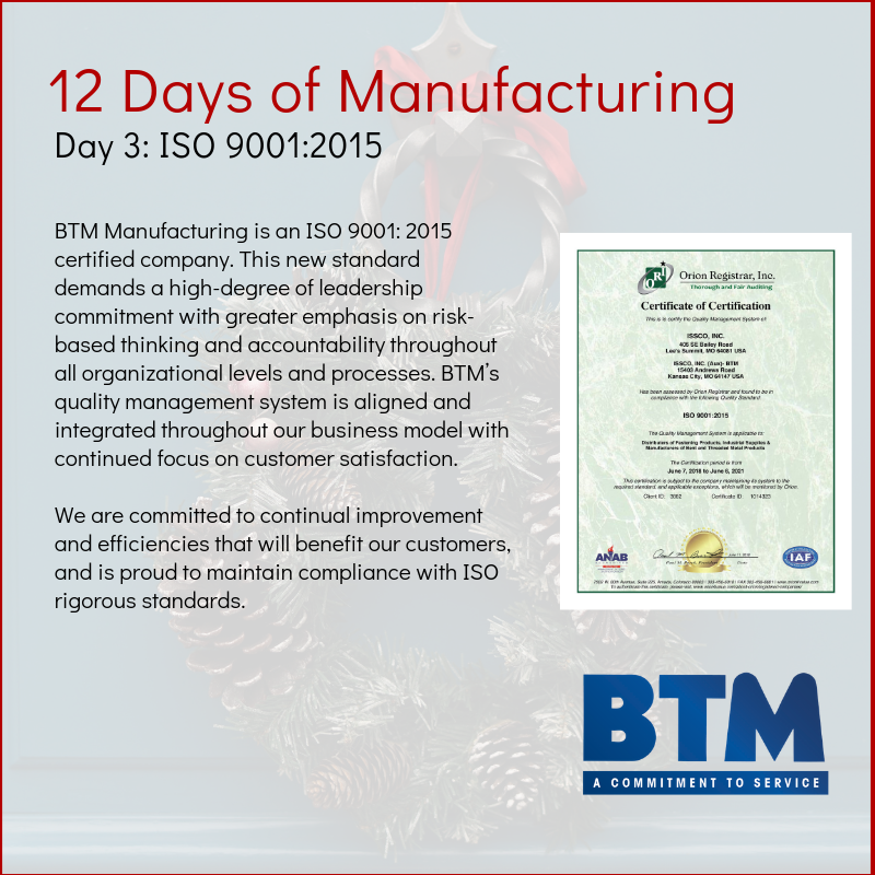 Day 3 of BTM's 12 Days of Manufacturing