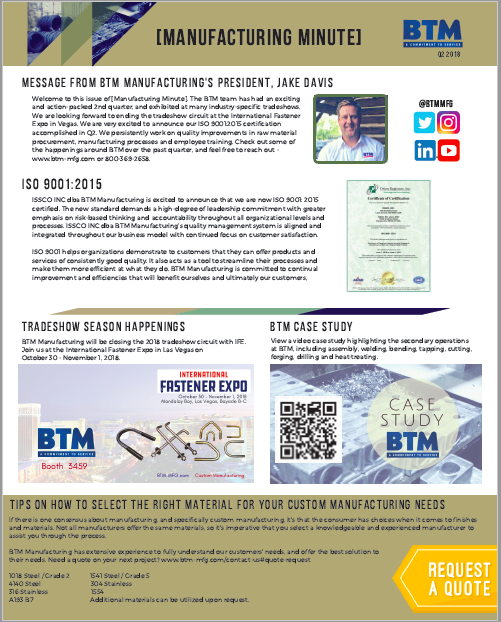BTM's Manufacturing Minute Newsletter Available for Download