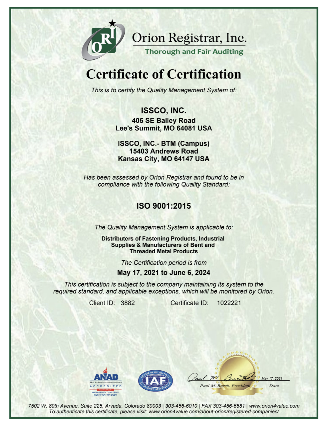 BTM Manufacturing Achieves ISO 9001: 2015 Recertification