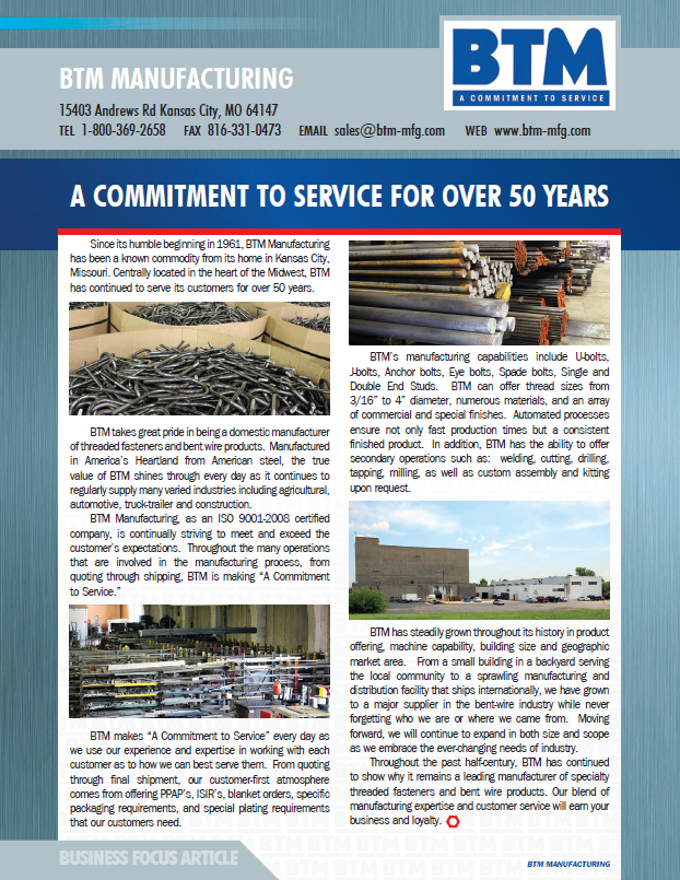 BTM Manufacturing: A Commitment to Service