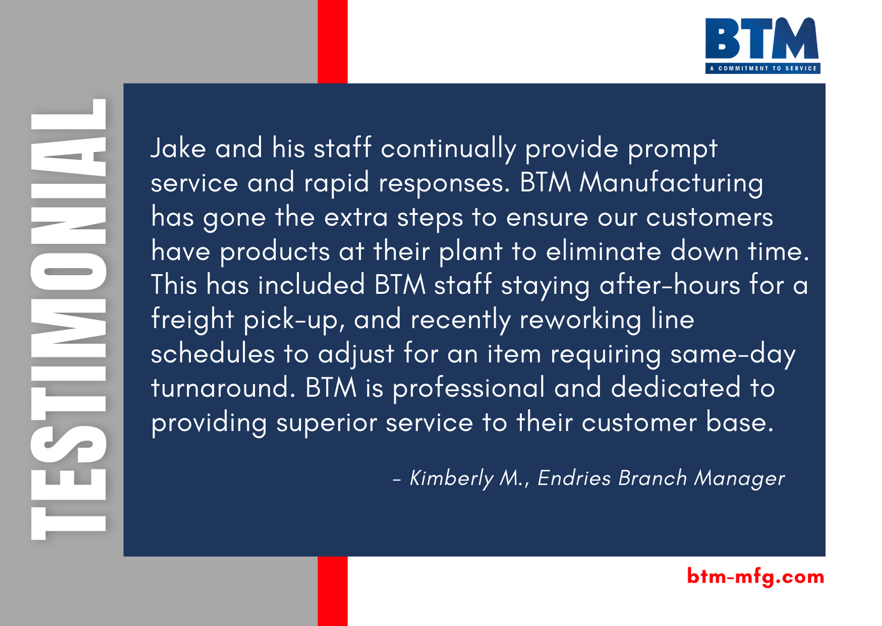 Hear from a BTM customer...